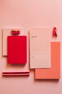 sets of modern stationery on table